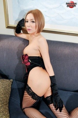 Hime Tsukino in corset and fishnets on shemalejapantbms