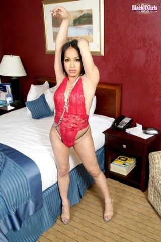 TS Noriko in Red on blacktgirlstbms