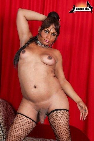 Sexy Latin Tgirl Claudia Lick Her Big Tits! on shemaleyumtbms