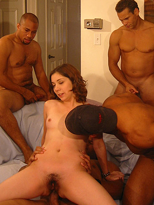 Can 4 Black Guys Satisfy a Teen - V2 on herfirstbigcock