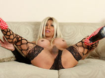 Chloe London couch tease on shemaleyumtbms