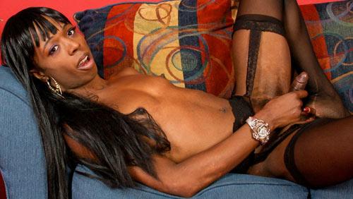 Paris Butler with Huge Dildo on blacktgirlstbms